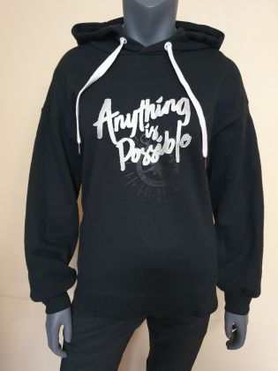 Swagger Female PO knit hoodie, Standard Black
