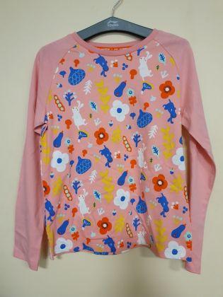 Sports Life Girl L/S tee, Firebird Pink Allover Print/Firebird Pink Stripe