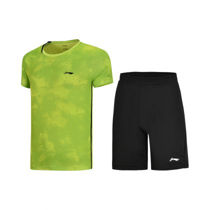 Badminton Club Male Competition Uniform Suit, Flashing Light Green