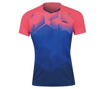 Badminton Club Female Competition Top, Fluorescent Bright Pink/Twilight Navy