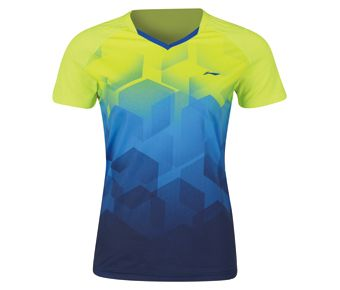 Badminton Club Female Competition Top, Flashing Light Green/Crystal Blue