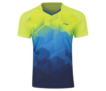 Badminton Club Male Competition Top, Flashing Light Green/Crystal Blue