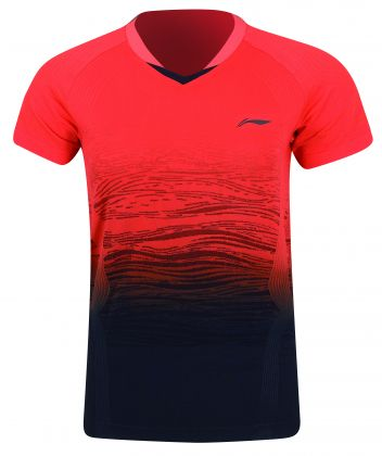 China National Team Male Competition Top, Orange Red/Standard Black