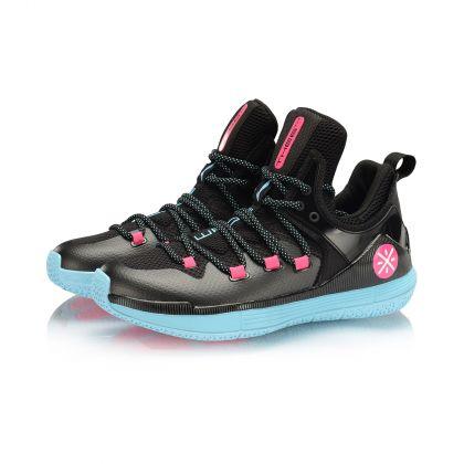 WADE Male Professional Basketball Shoes, Standard Black/Light Blue/Fluorescent Pink