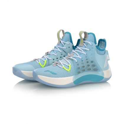 Male Professional Basketball Shoes, Light Blue/Standard White