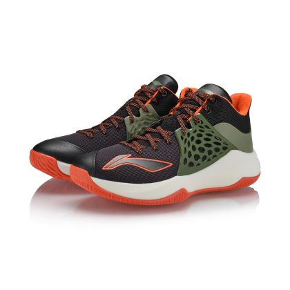 Professional Basketball Male On Court Basketball Shoes, Standard Black/London Green/Flame Orange