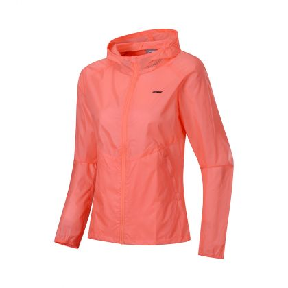 Primary Runner Female Windbreaker, Neon Coral Pink