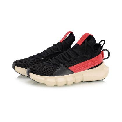 Male Basketball Culture Shoes, Standard Black/Angora Grey/Bulls Red