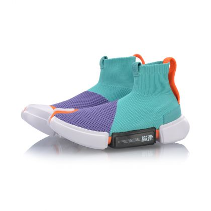 Female Basketball Culture Shoes, Lotus Purple/Fluorescent Jade Green/Standard White