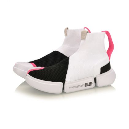 Female Basketball Culture Shoes, Standard Black/Standard White/Fluorescent Pink