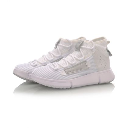 Female Basketball Culture Shoes, Standard White/Microcrystalline Gray