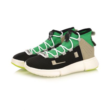 Female Basketball Culture Shoes, Standard Black/Mid Green
