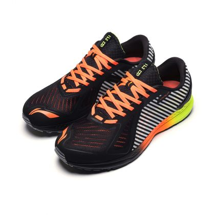 Male Light-Weight Running Shoes, Standard Black/Flashing Bright Green