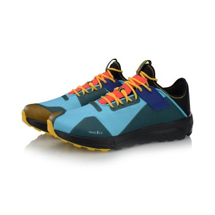 Male Cushion Running Shoes, Standard Black/Dolphin Blue/Spectra Yellow