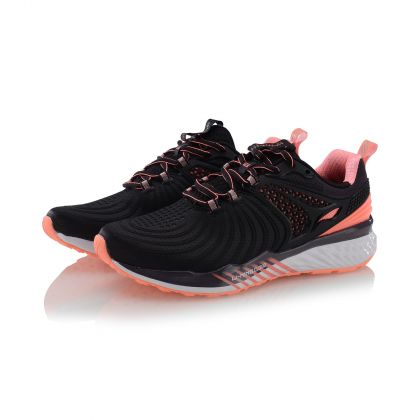 Female Cushion Running Shoes, Standard Black/Neon Coral Pink