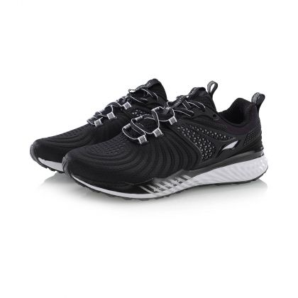 Female Cushion Running Shoes, Standard Black/Standard White