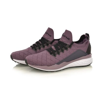 Female Cushion Running Shoes, Black Plum/Standard White