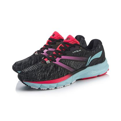 Female Stability Running Shoes, Standard Black/Silver Gray/Flashing Red