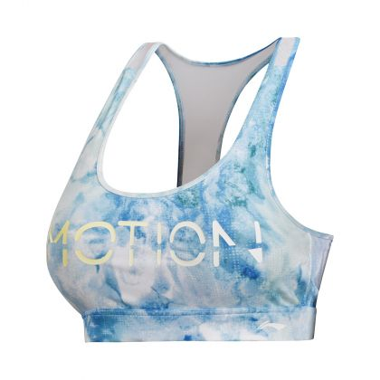 Base Layer Female Sport Bra, Blue & White Allover Print