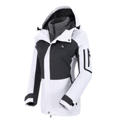 Explore Female 3 In 1(I-FZ Knit Top/O-Windbreaker), White/Dark Iron Gray
