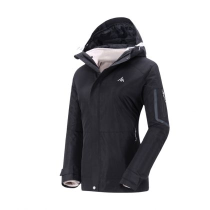Explore Female 3 In 1(I-FZ Knit Top/O-Windbreaker), Standard Black