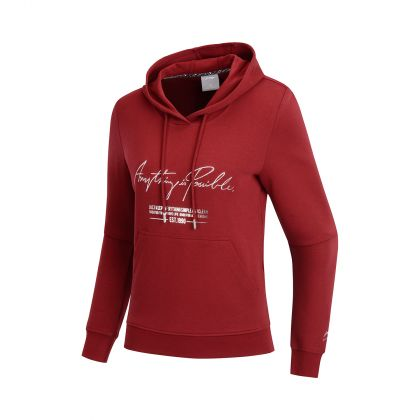 LN DNA Female PO knit hoodie, Dark Red