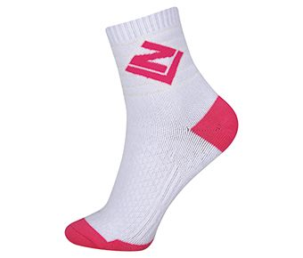 Socks-Full Terry, White/Rose