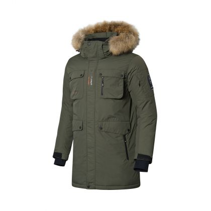 Explore Male Long Down Coat, Forest Green