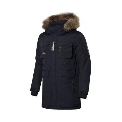 Explore Male Long Down Coat, Standard Black