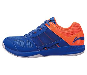 Male Badminton Training Shoes, Crystal Blue/Flashing Orange