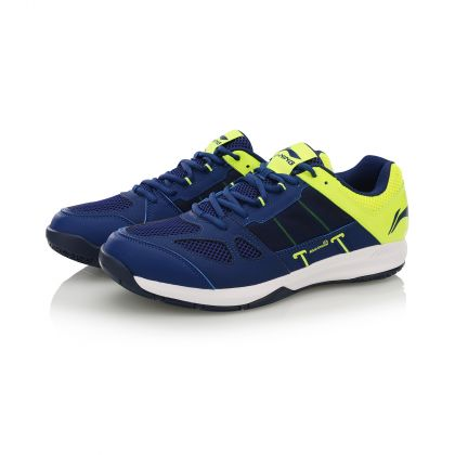 Male Badminton Training Shoes, Nany Green Blue/Flashing Bright Green