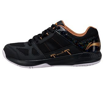 Male Badminton Training Shoes, Standard Black/Pale Gold