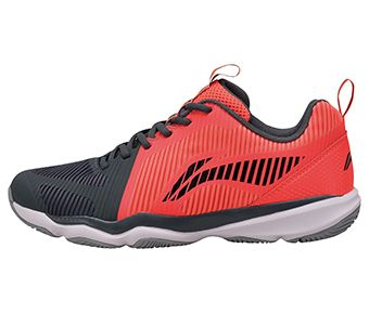 Male Badminton Training Shoes, Dark Gray/Fluorescent Congo Red
