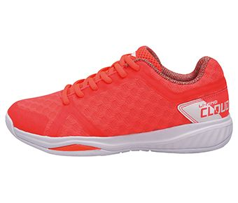 Female Badminton Training Shoes, Fluorescent Congo Red/Standard White