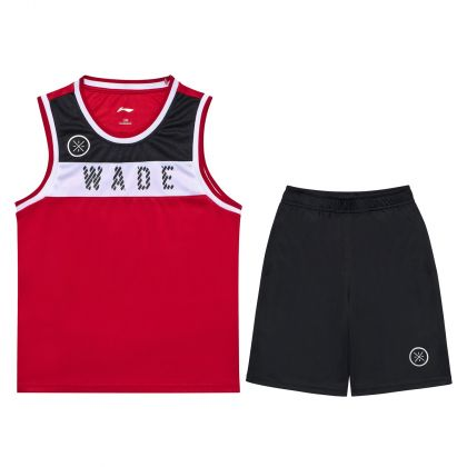 Wade Boy Competition Uniform Suit, Bulls Red/Standard Black