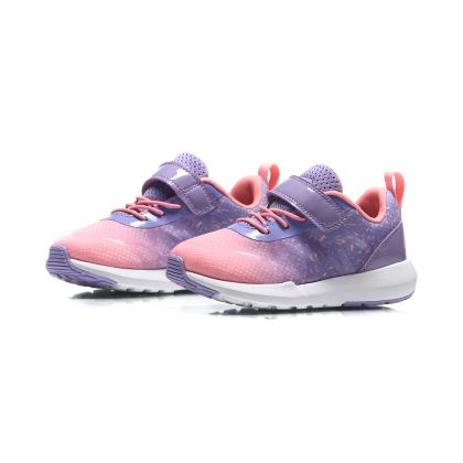 The Trend Girl Li-Ning Kids Sport Shoes, Violet Tulip/Fluorescent Peach Red