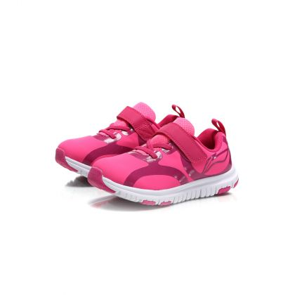 Sports Life Girl Li-Ning Kids Sport Shoes, Fluorescent Pink/Bright Rose Red/Standard White