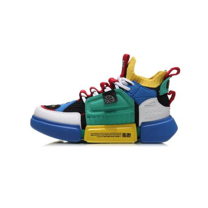 Boy Li-Ning Young Basketball Shoes, Crystal Blue/Peppers Green