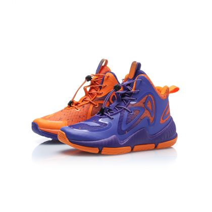 Boy Li-ning Young Basketball Shoes, Free Purple/Ice Orange