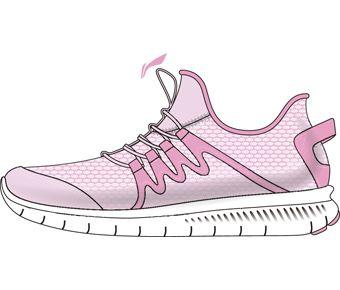 Sports Life Girl Li-ning Young Lifestyle Shoes, Prism Pink/Sakura Pink