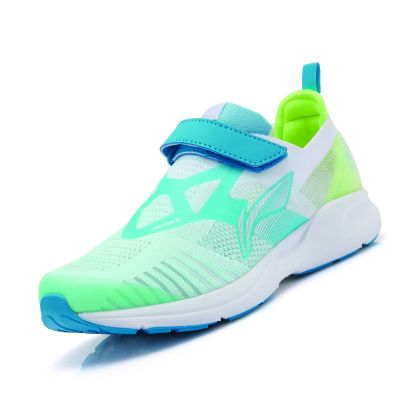 Girl Li-ning Young Running Shoes, Fluorescent Pink  Green/Stone Blue