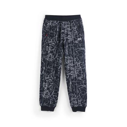 Sports Life Boy Sweat Pants, Black Allover Print