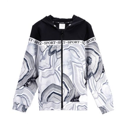 Sports Life Girl FZ Knit Hoodie, Black-White Allover Print