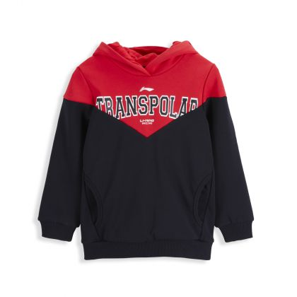 Sports Life Boy PO Knit Hoodie, Standard Black/Cinnabar Red