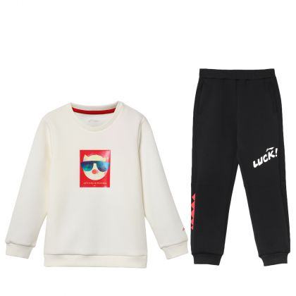 Sports Life Boy PO Knit Top Suit, Milk White/Standard Black