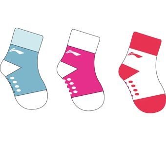 Sports Life Li-Ning Young Socks(3Pcs Pack), Blue/White, Plum/White, White/Red