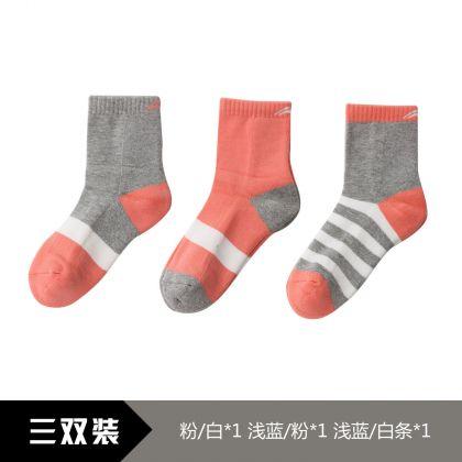 Sports Life Li-Ning Young Socks(3Pcs Pack), Pink/White、 Lightblue/Pink、Lightblue/White Stripe