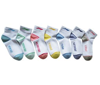 Sports Life Low Cut(7Pcs Pack), White/Yellow、White/Lake Blue、White/Green