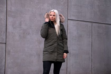 Explore Female Long Down Coat, Forest Green