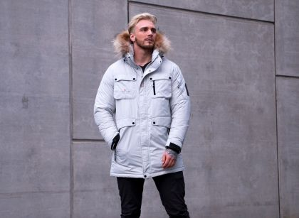 Explore Male Long Down Coat, Microcrystalline Gray